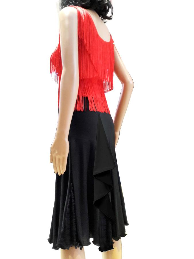 SKIRT IN MEDIAN TACTEL WITH LACE INSERTS LENGTH THE KNEE WHIT RUCHES 2-0027