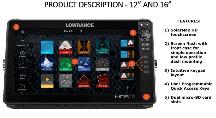 GPS Ecoscandaglio Lowrance HDS 12 Live con Trasduttore 3 in 1 - Offerta di Mondo Nautica 24
