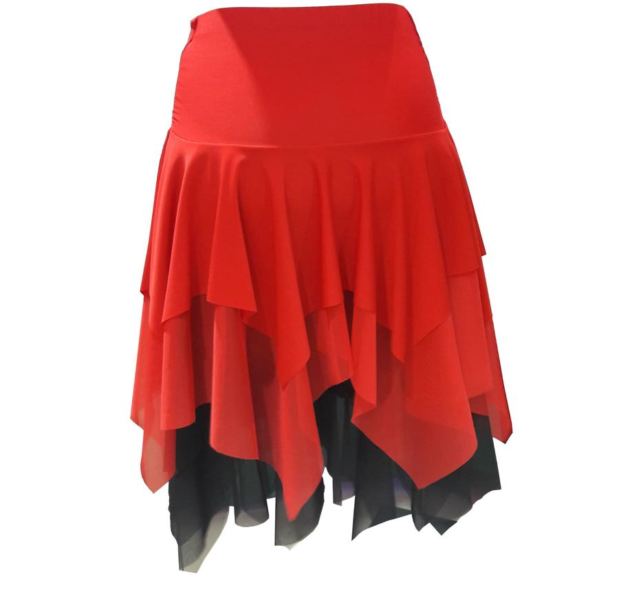 MINI TWO-TONE SKIRT WITH DOUBLE POINTS ADHERING IN LIFE 2-0031