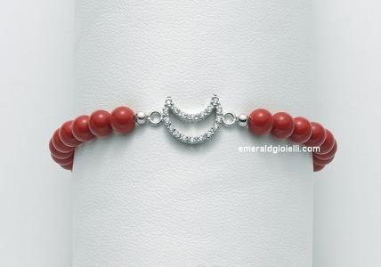 BR673 Bracciale di Corallo Rosso e Argento Miluna