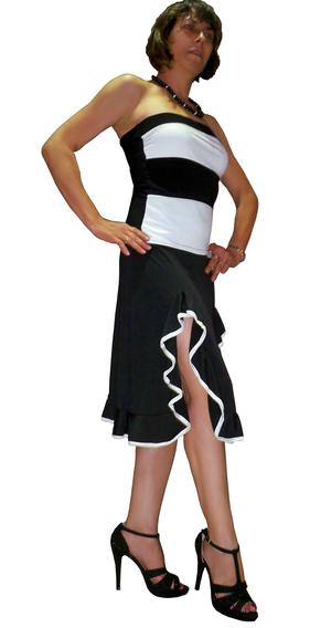 TOP ELASTIC BAND BLACK AND WHITE STRIPED 3-0007