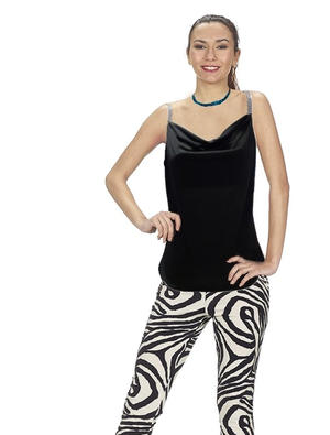 TOP IN MAGLINA NERA CON SCOLLO MORBIDO E SPALLINE IN STRASS 3-0015