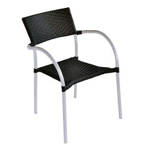 Sedia in alluminio e wicker nero impilabile CC 21 N