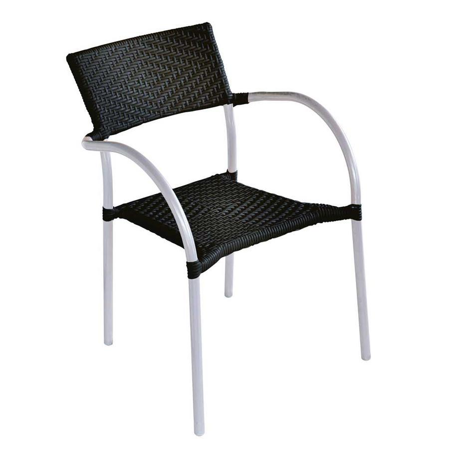 Sedia in alluminio e wicker nero impilabile CC 21 N