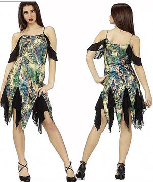 LYCRA DRESS IN LYCRA FANTASY AMAZONIA WITH TULLE TIPS 4-0090