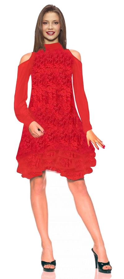 DANCE DRESS TO DOLL IN MULTI-LAYER LACE WITH FINAL VOLANT 4-0089