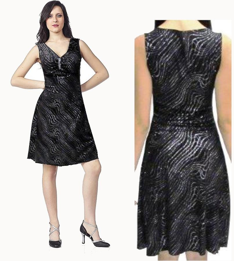 DRESS WITH FULL FINAL SEGMENTS WITH POINTS IN LYCRA AND GLITTER SILVER 4-0078