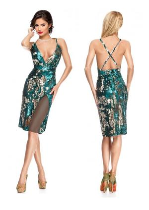 TUBE PAILLETTES DRESS GREEN AND SILVER WITH LARGE SIDE SPACES 4-0083