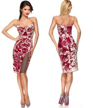 TUBE PAILLETTES DRESS RED AND WHITE WITH LARGE SIDE SPACES 4-0084