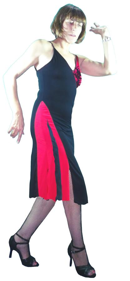 TANGO DRESS WITH TULLE RED INSERTS 4-0007