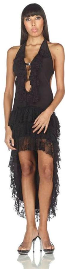 JERSEY DRESS BLACK WHIT LACE AND LACE STRETCH CODE 4-0077