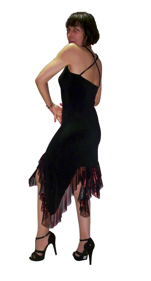 TANGO AND LATIN DRESS WITH BRIGHT RED RUCHES 4-0019