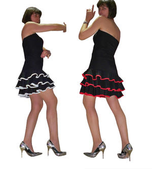 Latin dance dress with ruffles edged 4-0020