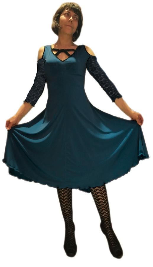 DRESS DANCE DENIM BLUE WITH SLEEVES AND BACK COTTON LACE 4-0032 BLU DENIM