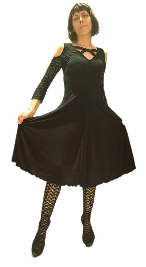DRESS DANCE BLACK WITH SLEEVES AND BACK COTTON LACE 4-0032 BLACK