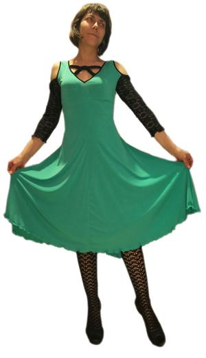 DRESS DANCE MINT GREEN WITH SLEEVES AND BACK COTTON LACE 4-0032 GREEN MINT