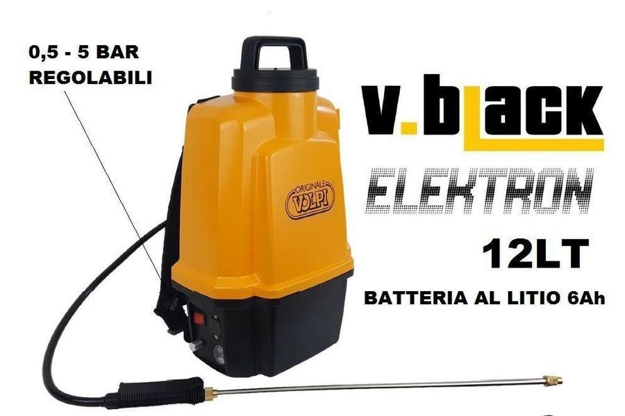Pompa elettrica a Spalla 12 lt V-BLACK ELEKTRON - max 5 bar con batteria al Litio
