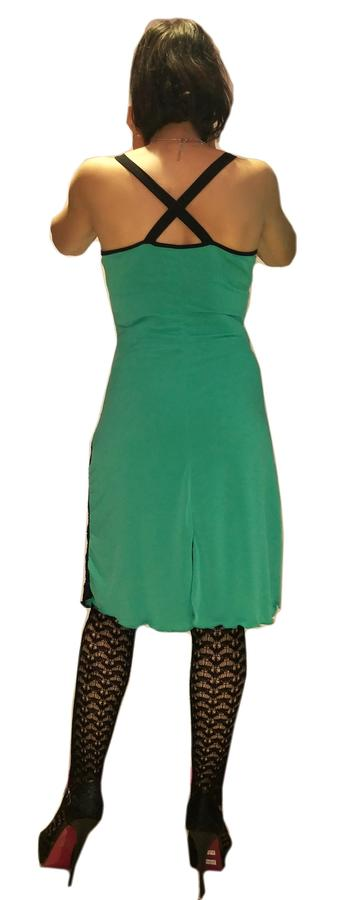 DRESS AND TANGO DANCE MINT GREEN WITH BLACK LACE 4-0033