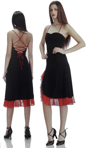 BLACK SKIRT DRESS WITH RED TULLE SHOULDER KNIFE AND HANDLE 4-0038 N