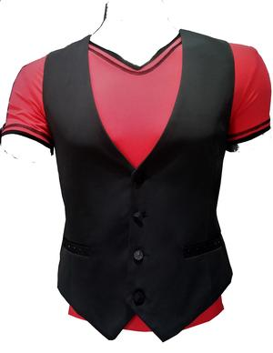 DANCE VEST SLIM VERSION 4 BUTTONS WITH RHINESTONE POCKETS 8-0002