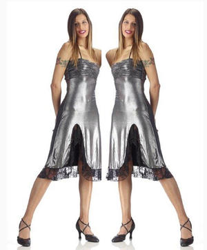 DRESS ROLLED SILVER LACE AND SPLITTING 4-0038D