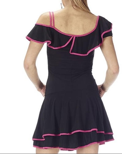 DRESS IN BLACK jersey TWO LAYERS WITH CENTRAL RUCHES 4-0051