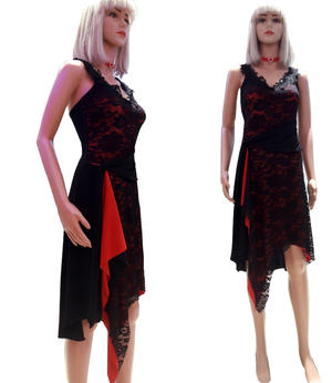 DRESS ARGENTINE TANGO IN TACTEL RED BLACK LACE AND SPLITTING 4-0053