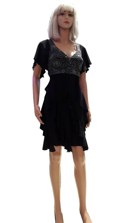 DRESS DANCE WITH VOLANT SLEEVES AND TISSUE IN SHINING DECOLLETE 4-0054