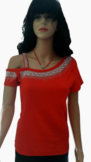 ONE-PIECE COTTON SWEATER WITH RHINESTONES AND BEADS IN VARIOUS COLORS 6-0032