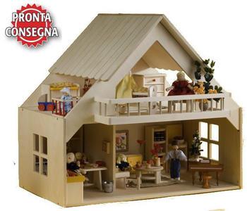 Casa delle Bambole con Balcone in Legno Naturale di Rulke Holzspielzeug