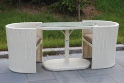 Salotto Da Giardino in Polyrattan col. bianco mod.TAORMINA B - 1 Tavolo + 2 Poltrone bianco 94424