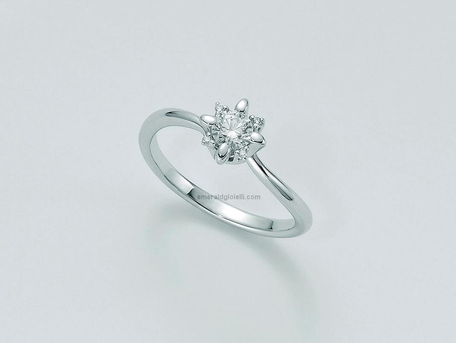LID5184-018g7 Anello Solitario in Oro Bianco con Diamanti Miluna -