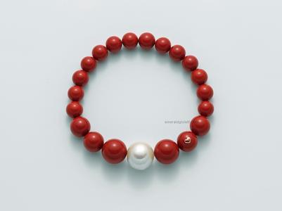pbr2567 Bracciale Agglomerato Corallo Rosso e Perla Miluna