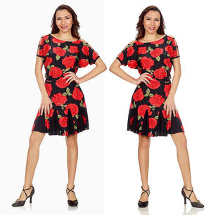 PRINTED LYCRA DRESS WITH ROSES SLEEVES OPEN 4-0065D
