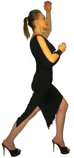 ARGENTINE TANGO DRESS WITH A SLEEVE OPEN 4-0005