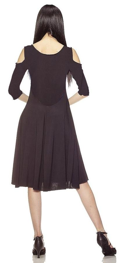 DRESS DANCE BLACK WITH SLEEVES AND BACK COTTON TULLE 4-0102
