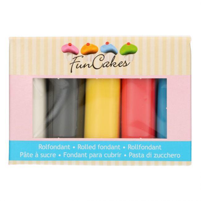 Confezione multipla pasta di zucchero Funcakes colori base