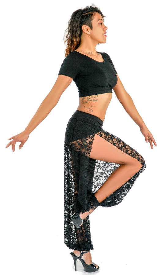 LACE PANTS WITH INCORPORATED SHORT OPEN FROM SIDES 1-0019