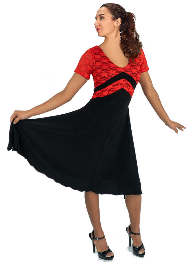 DRESS IN BLACK SWEATER WITH INSERTS IN RED LACE LINED 4-0105