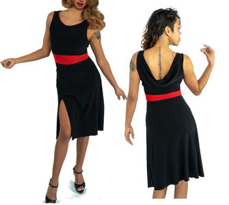 ARGENTINE DANCE AND TANGO DRESS IN SWEATER WITH RED INSERTS AND LATERAL SPLIT 4-0106