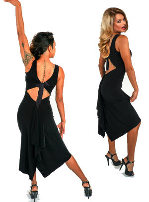 DANCE DRESS IN BLACK ELASTIC SWEATER WITH DRAWN BEHIND WROUGHT BACK 4-0107