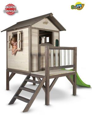 """Casetta per Bambini in Legno di Cedro """"Lodge XL con Scivolo e Veranda"""" di SUNNY"""