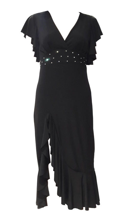 DRESS UNDER THE KNEE WITH SPLIT AND FINAL INSERTS SLEEVES AND STRASS 4-0108