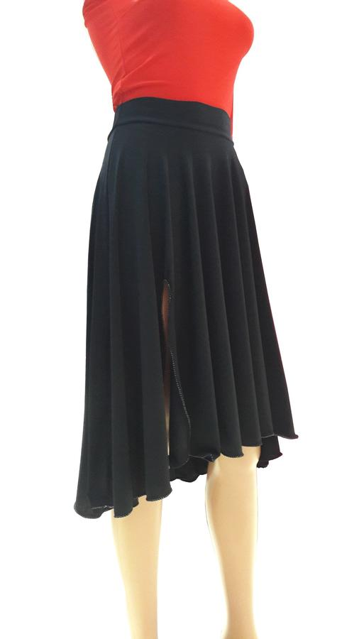 WHEEL SKIRT WITH LARGE FINAL IN ELASTIC SWEATER WITH SHORTER LATERAL SPLIT FRONT 2-0036