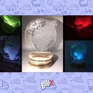 Lampada 3D in legno e plexiglass