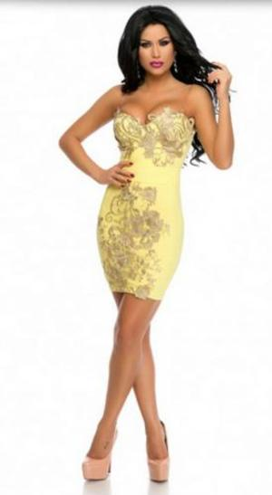 0132 OCCASIONE ULTIME TAGLIE TUBINO IN CREPE STRETCH GIALLO ACCESO (SM)
