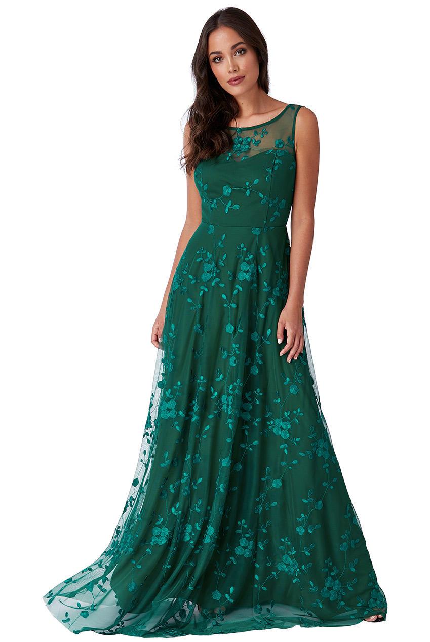 Vestiti Cerimonia Verde Smeraldo.Offerta 0408 Abito Lungo Verde Smeraldo In Tulle Ricamato E