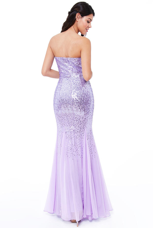 0444 BANDBAND DRESS IN SEQUINS AND LINED CHIFFON COLOR CLICINE