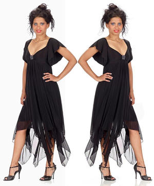 BLACK TULLE DRESS WITH POINTS KNITTED LINING MESH AND CENTRAL STRASS 4-0103