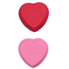 set 12 ministampi in silicone a cuore per muffin o dolcetti wilton